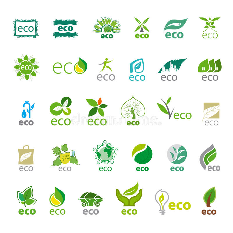 Collection of vector logos eco royalty free illustration