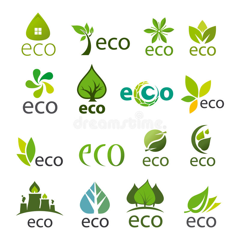 Collection of vector logos eco vector illustration