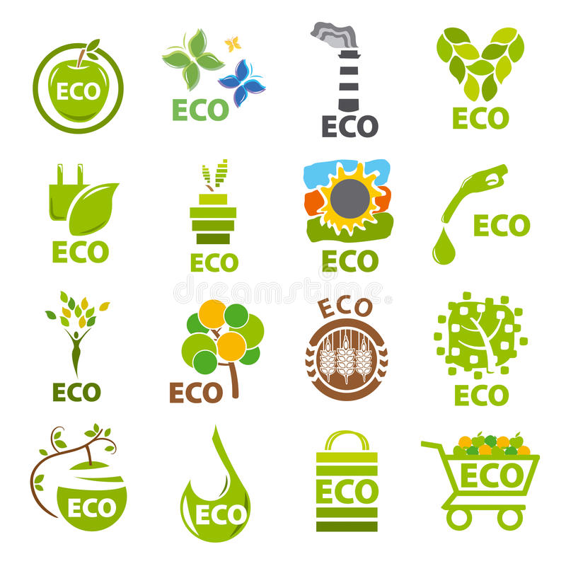 Collection of vector logos eco stock illustration