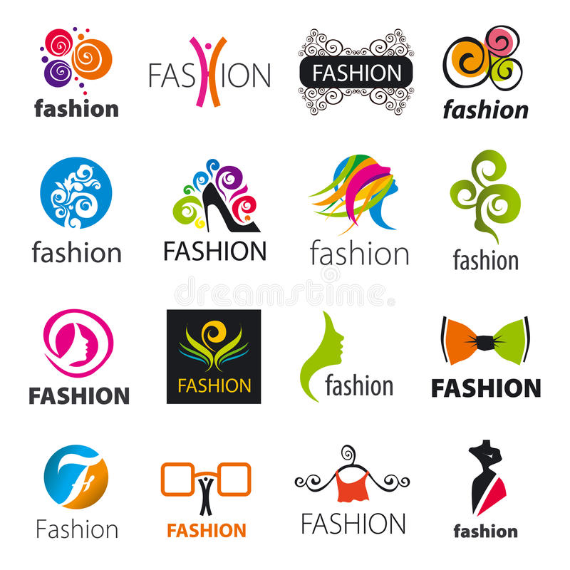 Collection of vector logos fashion stock illustration