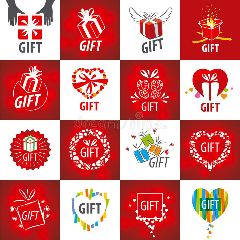 Collection of vector logos for gifts stock illustration