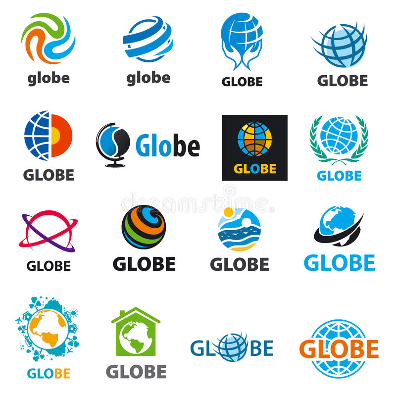 Collection of vector logos globes. Biggest collection of vector logos globes royalty free illustration