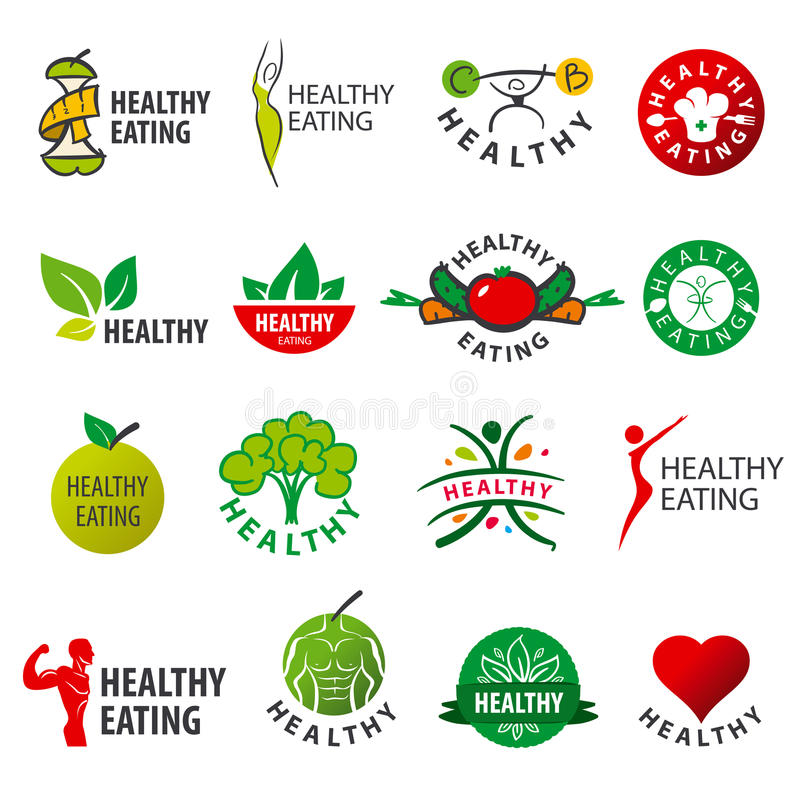Collection of vector logos healthy eating royalty free illustration