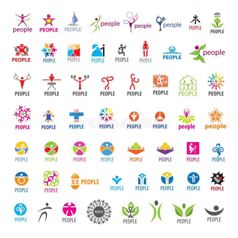 Collection of vector logos people stock illustration