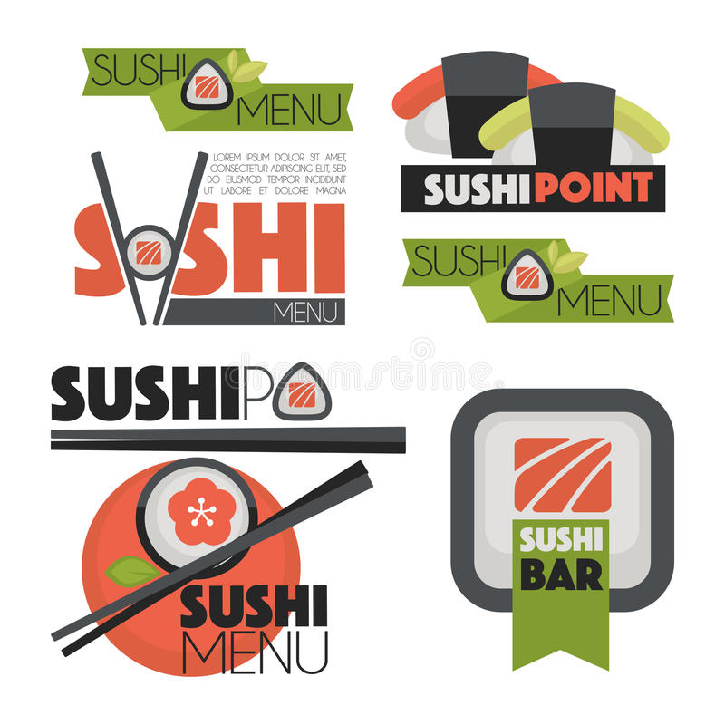 Collection of vector logos sushi. Collection of vector logos of sushi. Logo design for restaurants of Japanese food. Vector Illustration vector illustration