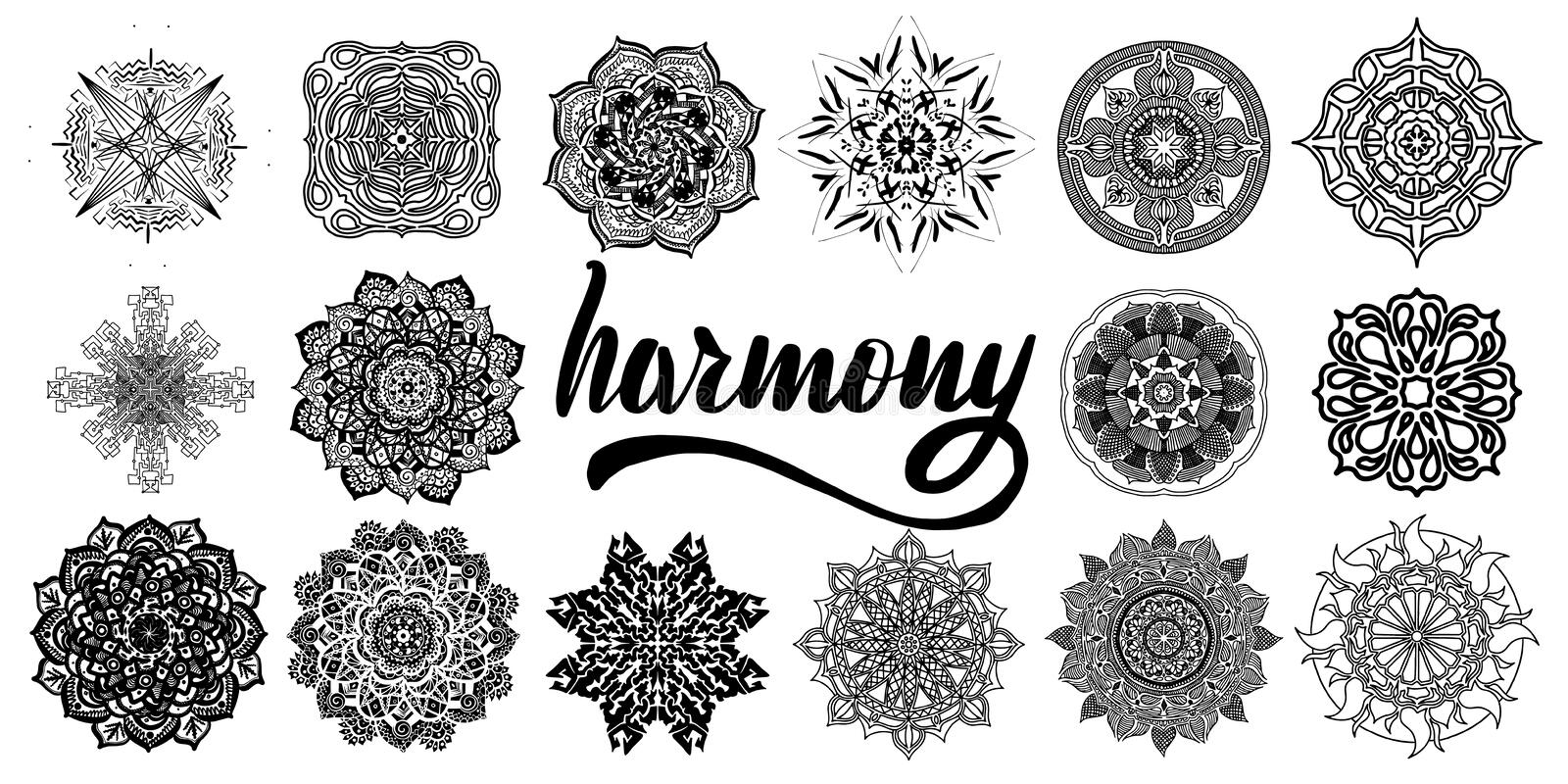 Collection of vector mandalas for stock illustration