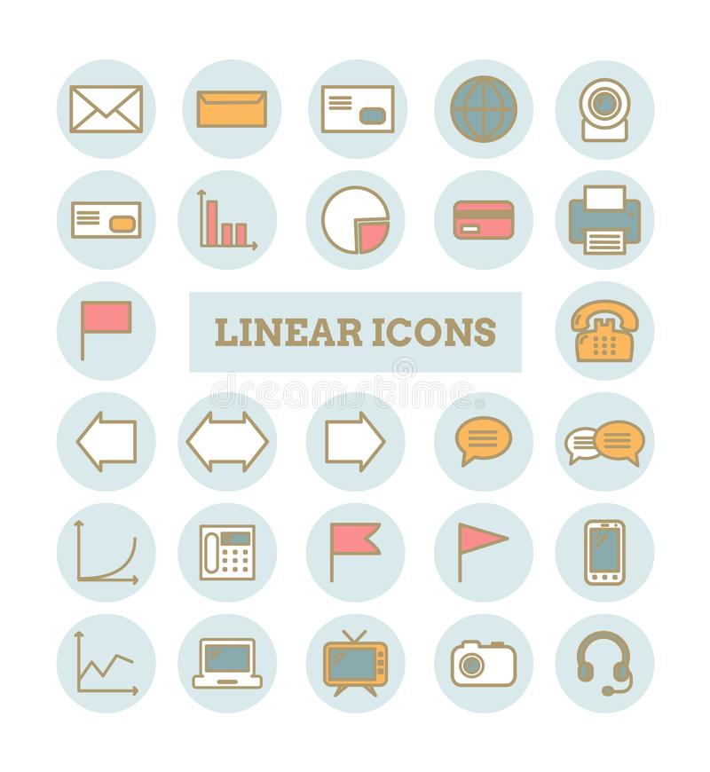 Collection of vector thin linear web icons: business, media, communications vector illustration