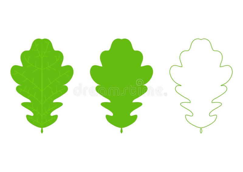 A collection of  oak leaf icons. Silhouette of autumn leaves icon set isolated on white background royalty free stock images