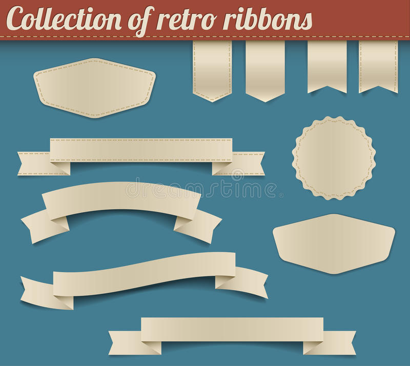 Collection of vector retro ribbons and tags royalty free illustration