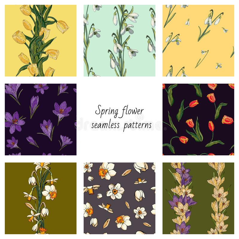 Collection of 8 vector seamless color patterns with spring flowers. Textures with tulips, crocuses, snowdrops and daffodils vector illustration