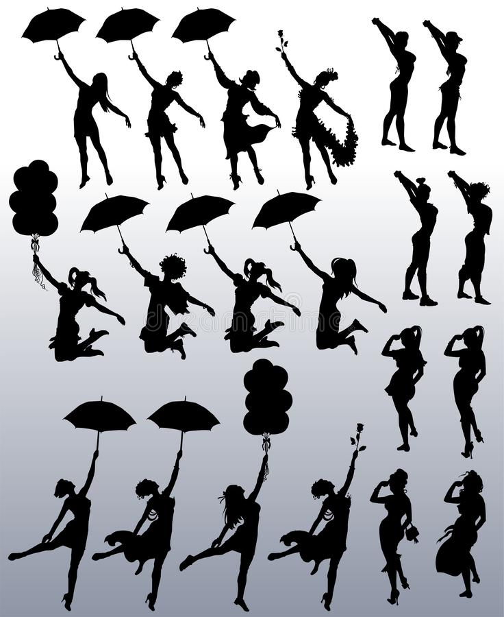 Collection of vector silhouettes of attractive women stock illustration