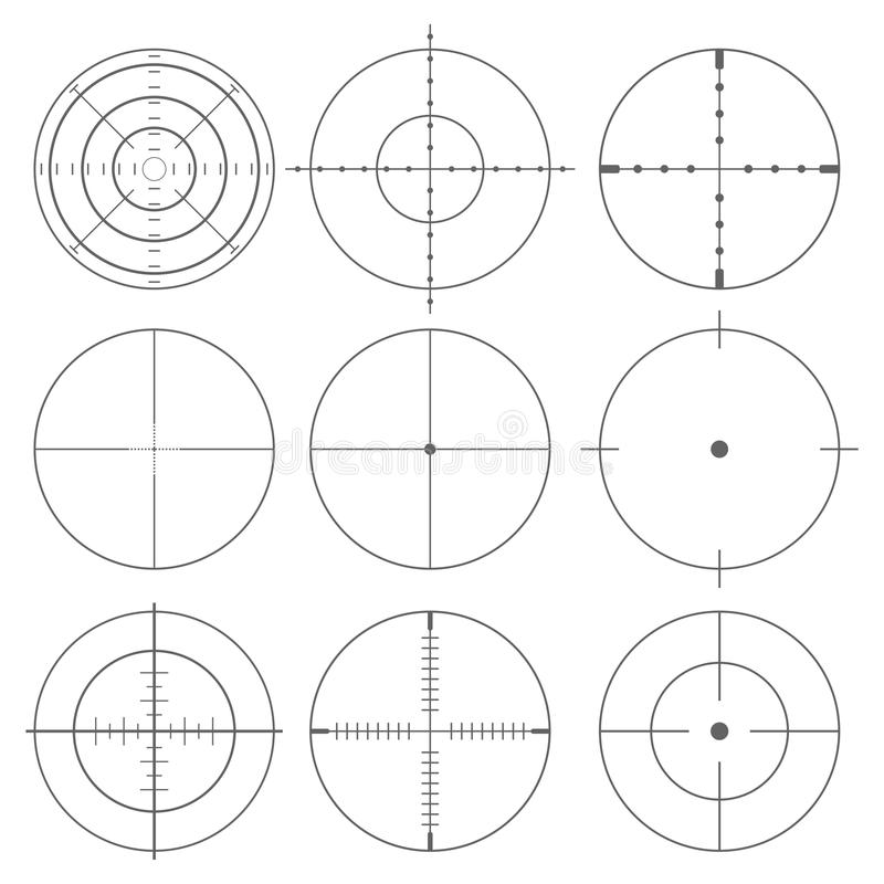 Collection of vector targets, Different crosshair icons. Vector icon stock illustration