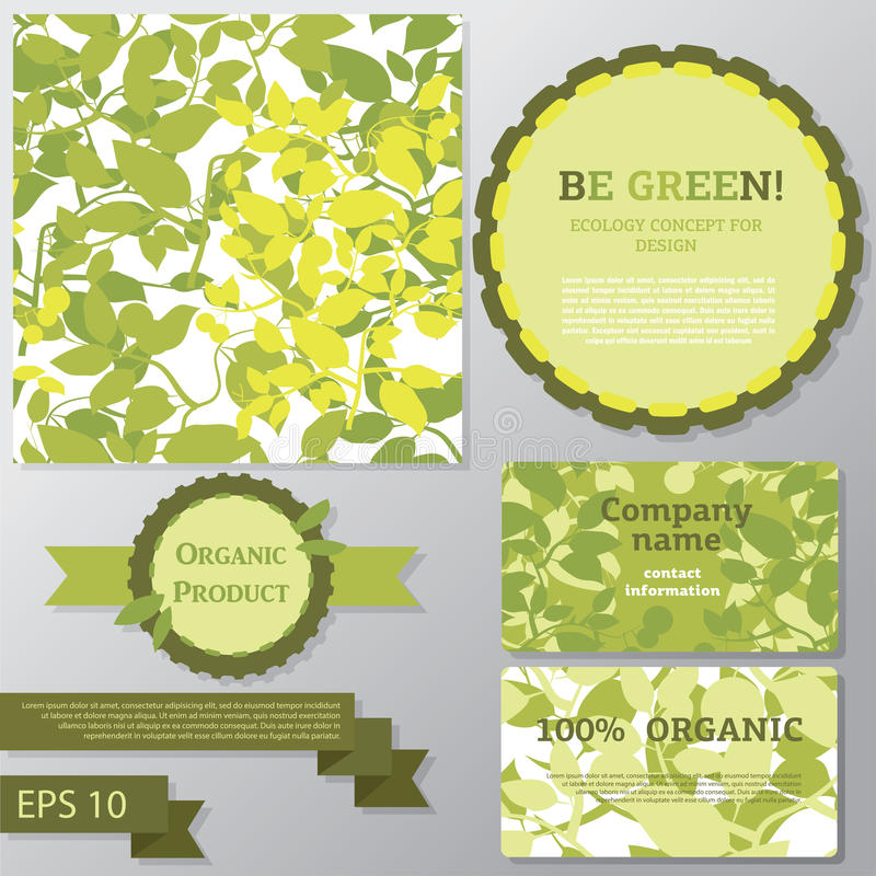 Collection of vector templates for ecology concept. Seamless background, business cards, decorative elements vector illustration