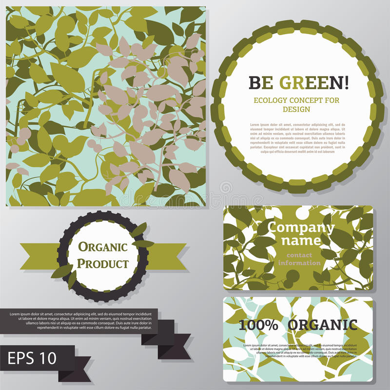 Collection of vector templates for ecology concept. Seamless background, business cards, decorative elements royalty free illustration