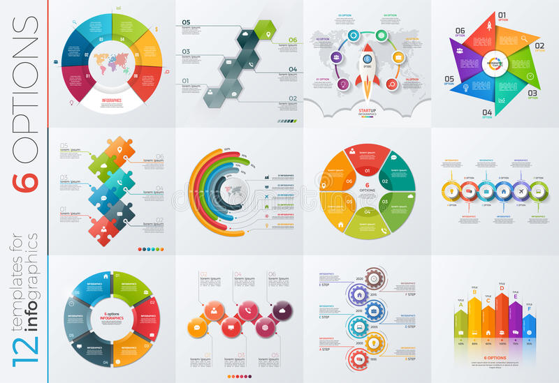 Collection of 12 vector templates for infographics with 6 options stock illustration
