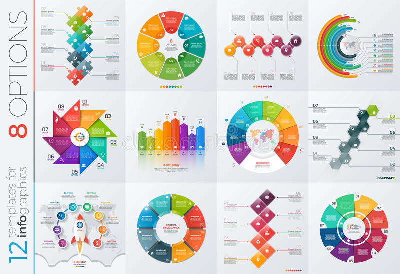 Collection of 12 vector templates for infographics with 8 options stock illustration