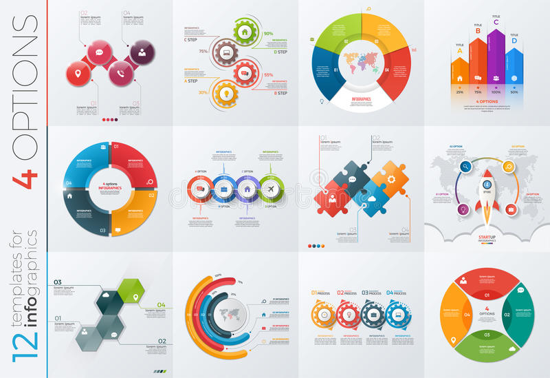 Collection of 12 vector templates for infographics with 4 options stock illustration
