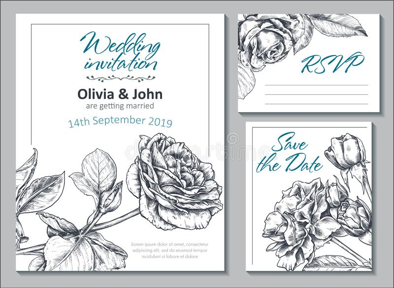 Collection of vector templates for wedding cards and invitation with hand drawn rose flowers. vector illustration