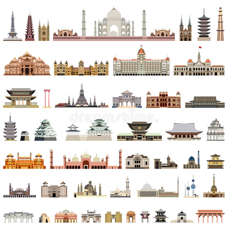 Collection of vector temples, towers, cathedrals, pagodas, mausoleums. ancient buildings and other architectural monument. Vector collection of vector temples vector illustration