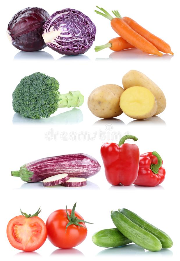 Collection of vegetables bell pepper cucumber carrots fresh food stock images