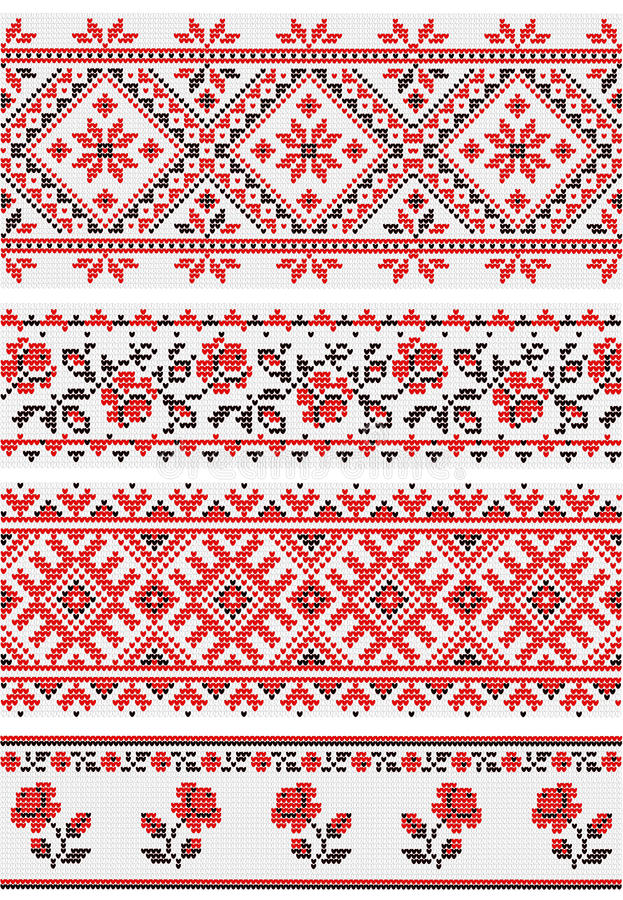 Collection of vegetative ornaments in the Ukrainian style stock illustration