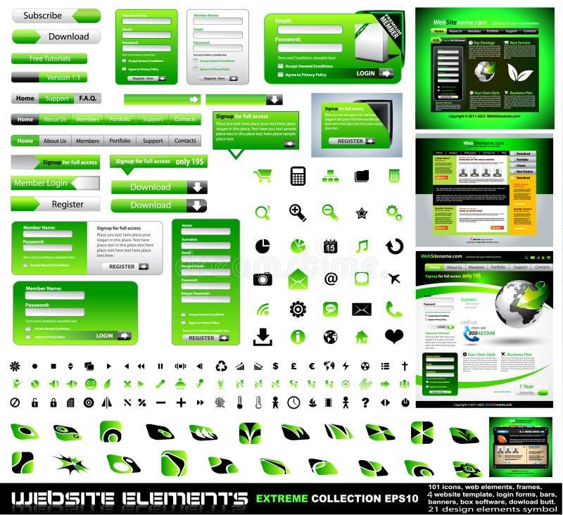 Collection verte d'extrémité d'éléments de conception de Web