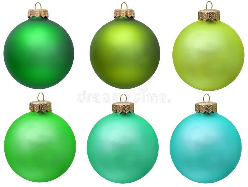 Collection verte d'ornement de Noël. photographie stock