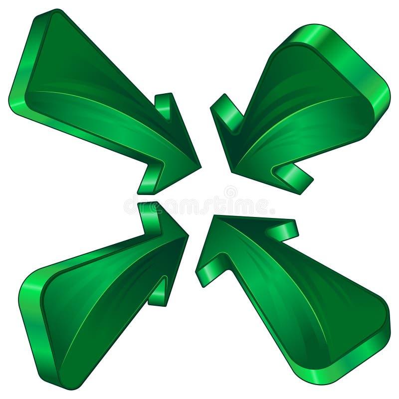 Collection verte de flèche images libres de droits