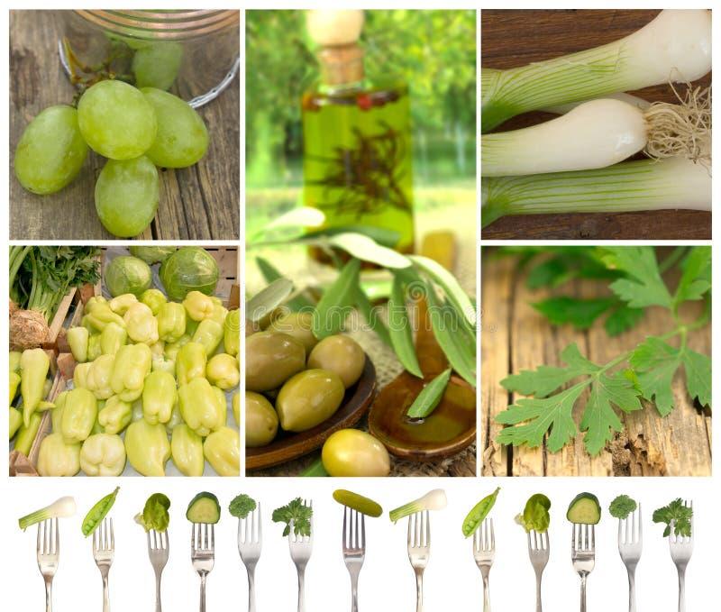 Collection verte de légumes et de fruits photo stock