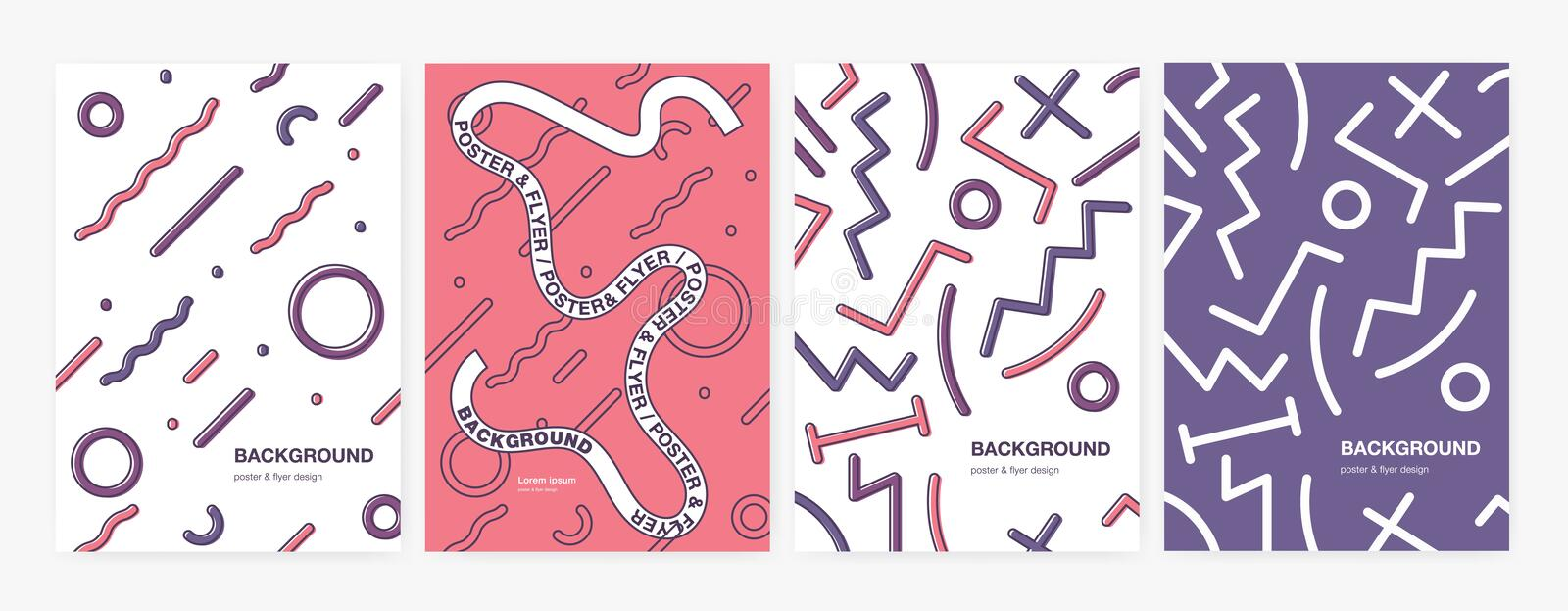 Collection of vertical backgrounds or backdrops with abstract geometric shapes, curved and zigzag lines. Set of poster stock illustration
