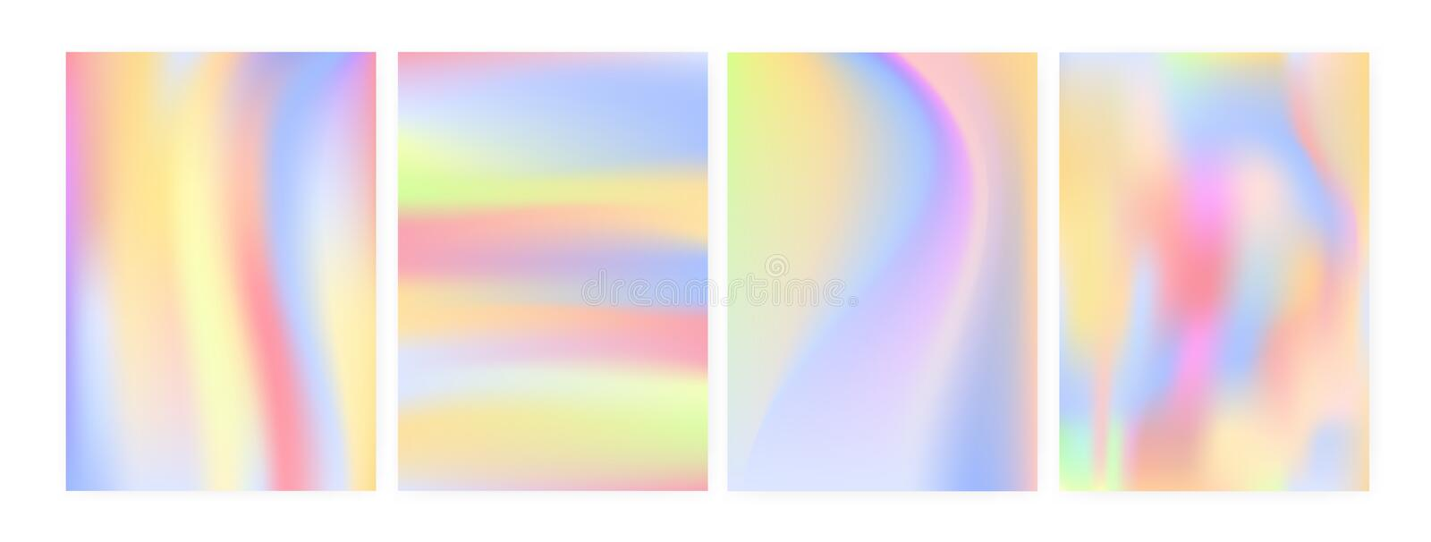 Collection of vertical backgrounds or backdrops with iridescent stains, blur or holographic surface imitation. Bundle of vector illustration