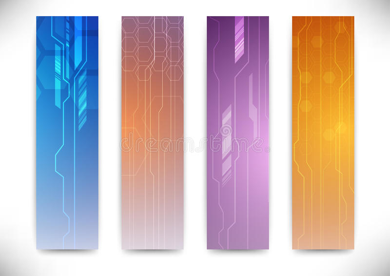 Collection of vertical flyers - futuristic concept. Clip-art vector illustration