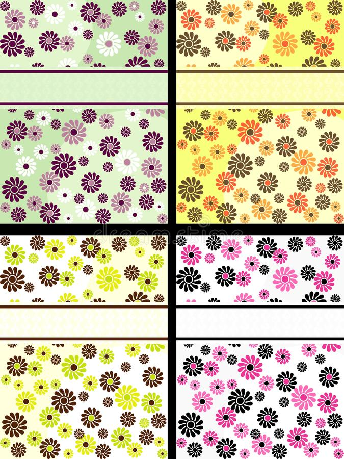 Collection of vertical retro banners with flowers royalty free illustration