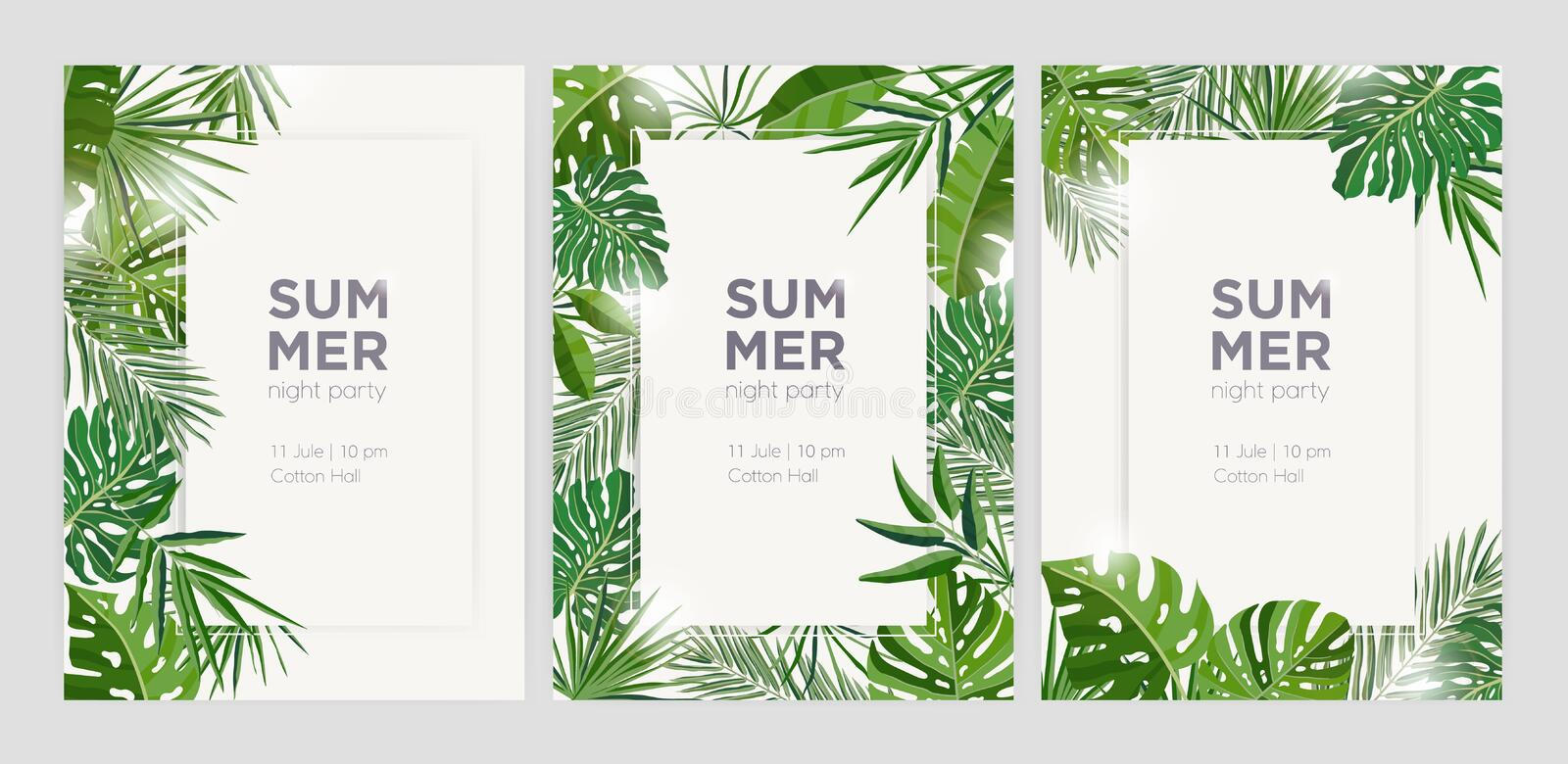 Collection of vertical summer backgrounds with frames or borders made of green tropical palm leaves or jungle exotic stock illustration