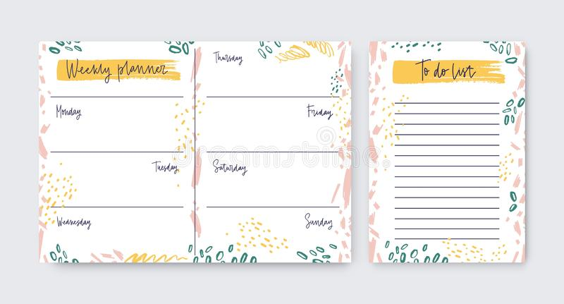 Collection of vertical weekly planner and to-do-list templates decorated by artistic scribble, daub, paint traces royalty free illustration