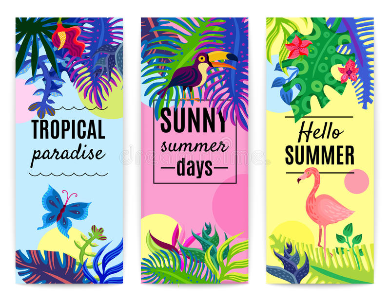 Collection verticale de bannières de paradis tropical illustration de vecteur