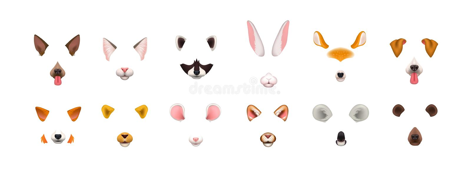 Collection of video chat application effects. Bundle of cute and funny faces or masks of various animals - dog, cat, fox royalty free illustration
