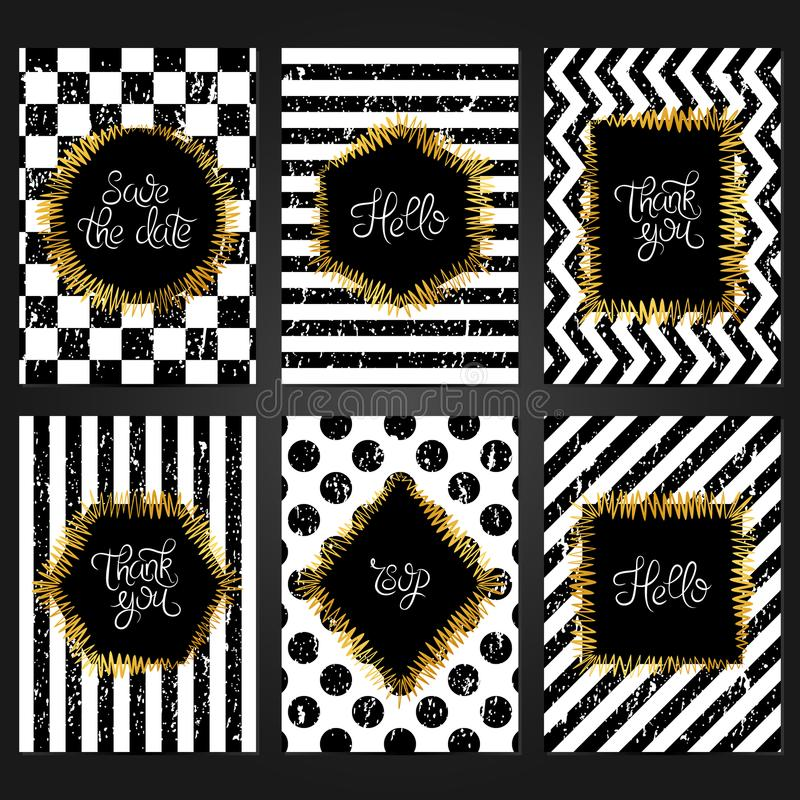 Collection Of 6 Vintage Card Templates In White And Black Colors ...