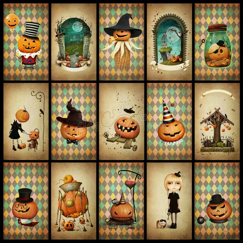 Collection vintage cards Halloween royalty free stock photography