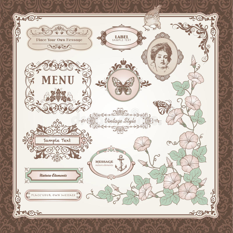Collection of vintage elements stock illustration