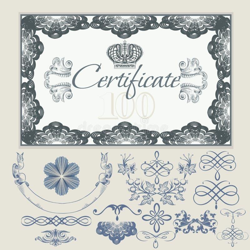 Collection of vintage elements for certificate design vector illustration