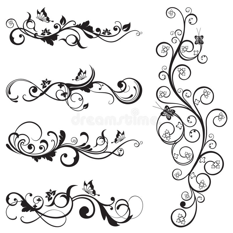 Collection of vintage floral silhouette designs vector illustration