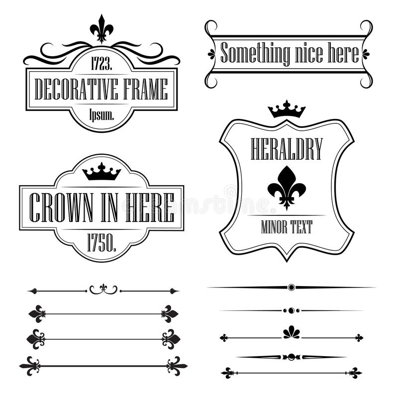 Collection of vintage frames, borders and deviders royalty free illustration