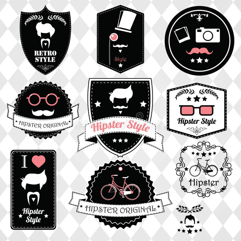 Collection of vintage hipster badges, labels and stamps. Vector illustration stock illustration