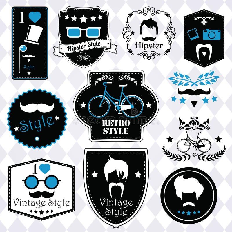 Collection of vintage hipster badges, labels and stamps. Vector illustration vector illustration