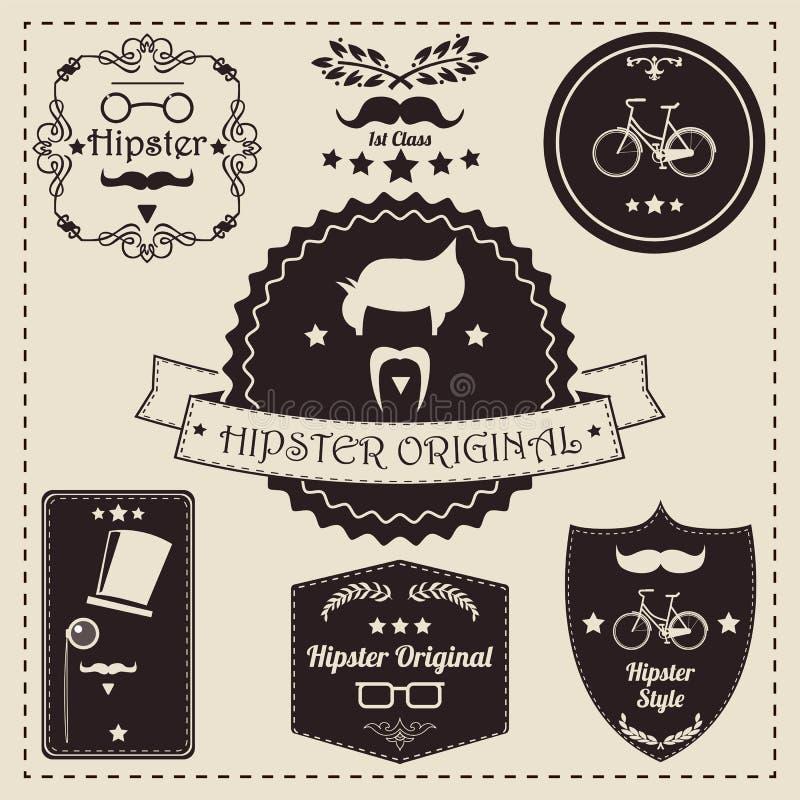 Collection of vintage hipster badges, labels and stamps. Vector illustration stock illustration