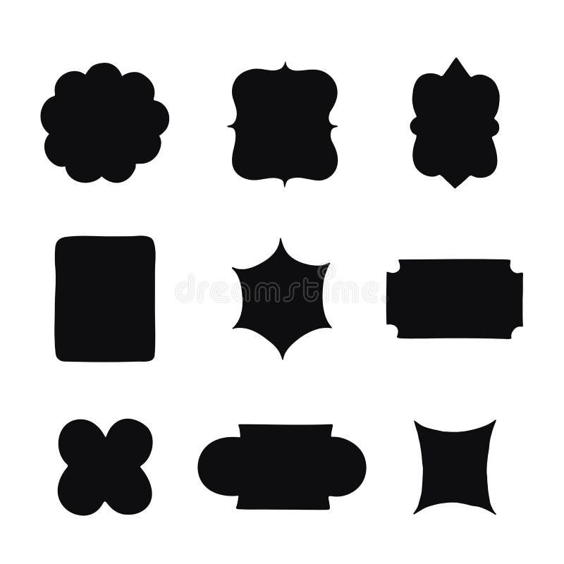 Collection of vintage label shapes. Vector illustration. royalty free illustration