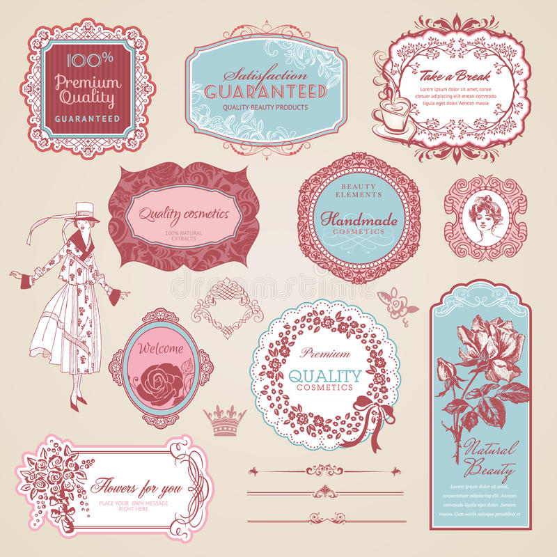 Collection of vintage labels and elements stock images