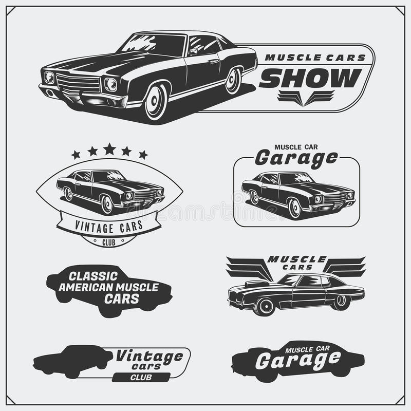 Collection of vintage muscle cars labels, badges and design elements. Car service labels. vector illustration