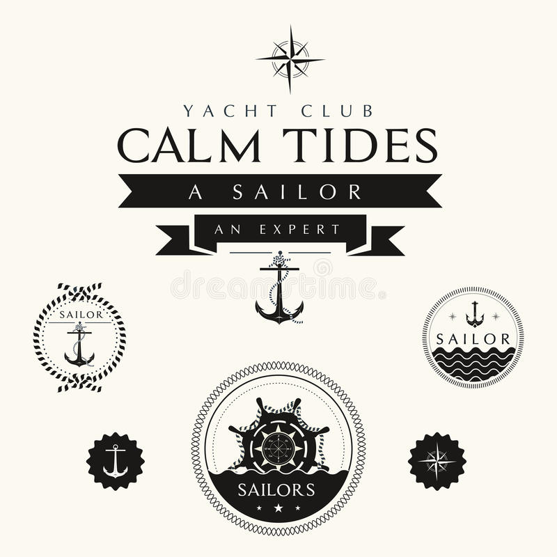 Collection of Vintage Nautical Badges and Labels vector illustration